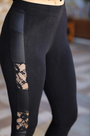 Women's Side Leather Lace Detail Black Tights