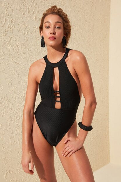 Women's Halter Neck Black Texture Swimwear