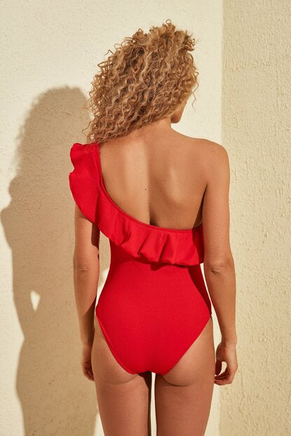 Women's One Shoulder Ruffle Red Swimsuit