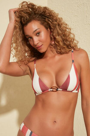 Women's Striped Cinnamon Bikini Bra