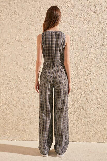 Women's Plaid Grey Overall