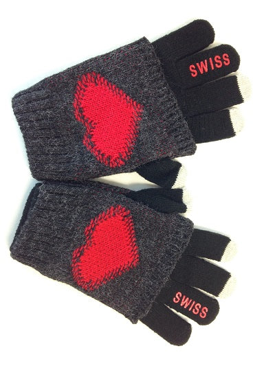 GLOVE - BLACK RED HEART