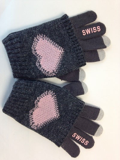 GLOVE - GREY PINK HEART