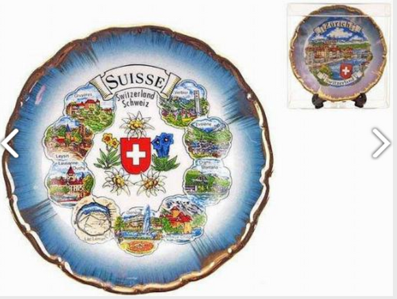 PORCELAIN PLATE 11CM  WITH SWISS TOWNSHIPS