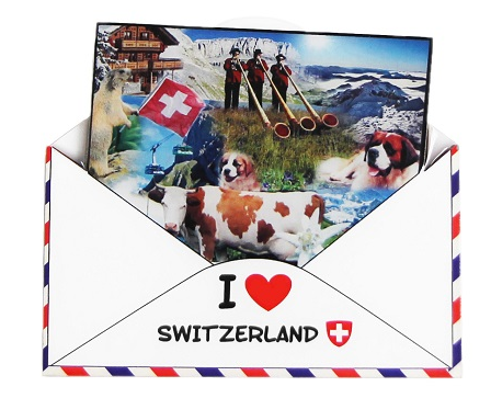 FIBERBOARD MAGNET SHAPE OF A LETTER WITH SWISS SYMBOLS