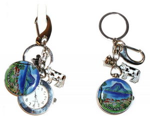 KEYRING ROUND CLOCK WITH COVER + FREE CHOICE LABEL 30MM