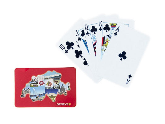 PLAYING CARD GENEVA ON RED BACKGROUND