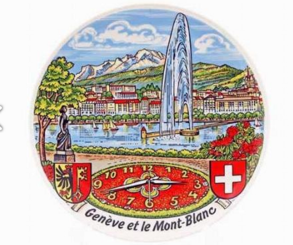 PORCELAIN PLATE 19CM GENEVA, CLOCK AND MONT BLANC