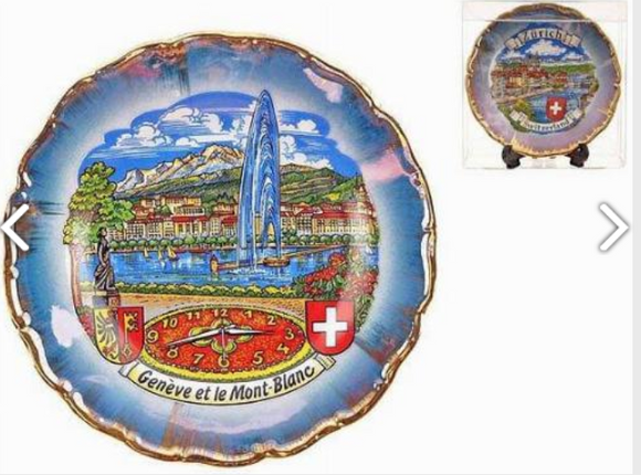 PORCELAIN PLATE 11CM GENEVA, CLOCK AND MONT BLANC