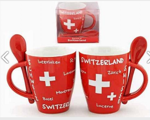 RED MUG SWITZERLAND, TOWNSHIPS AND SPOONS