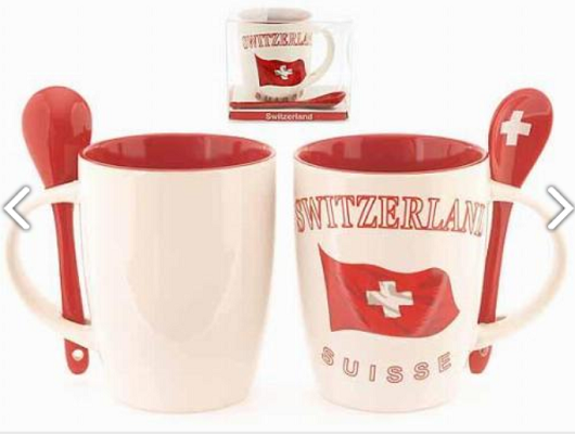 WHITE AND RED MUG SWITZERLAND WITH SPOONS