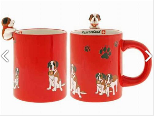 RED MUG WITH DOG