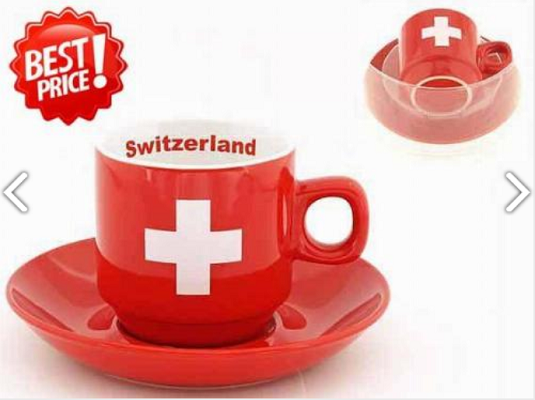 RED SWISS MUG WITH UNDER PLATE