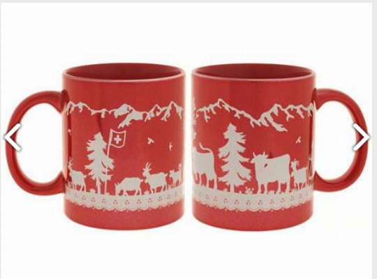 RED SWISS MUG ALPS AND COWS