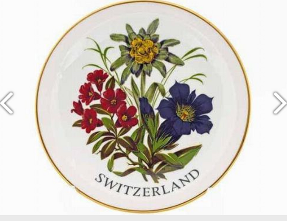 PORCELAIN PLATE 15CM EDELWEISS FLOWERS