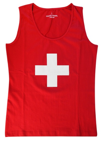 RED LADY'S TANK TOP WITH WHITE CROSS, T-S-POLAIRES-PULL-BODY-PYJAMA
