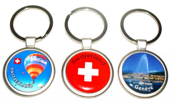 SILVER KEYRING ROUND + FREE CHOICE LABEL 30MM