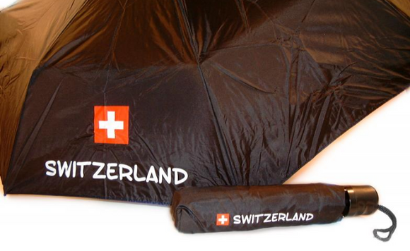 UMBRELLA BLACK SWITZERLAND + SWISS LOGO