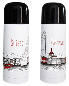 WHITE THERMOS BOTTLE GENEVA DESIGN 350ml