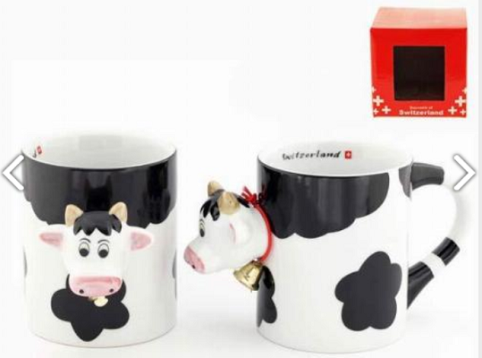RED AND BLACK COW MUG WITH HEAD