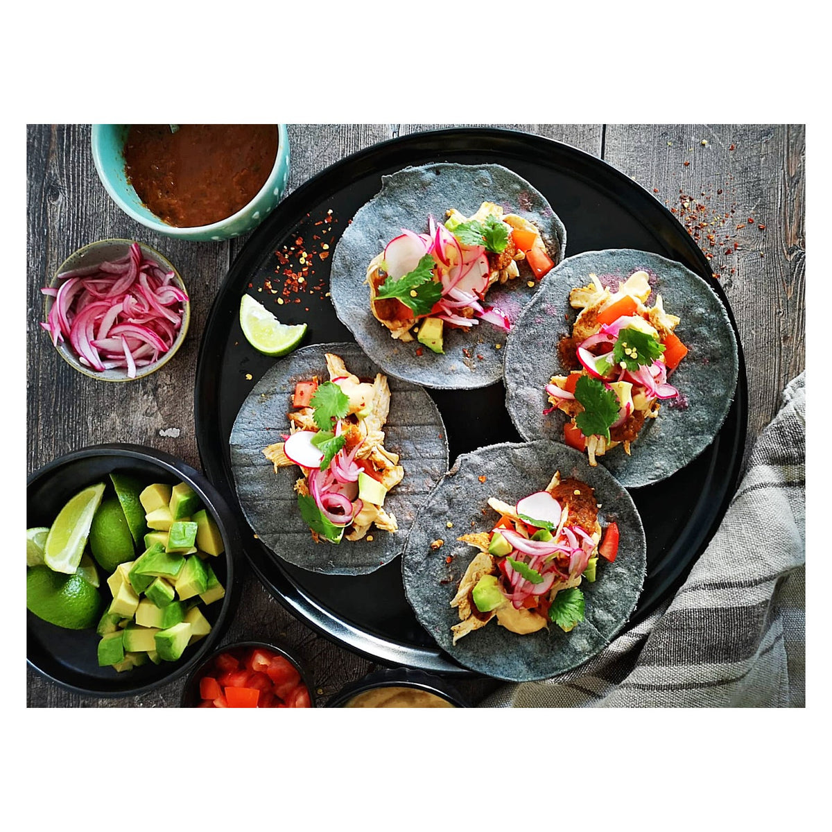 Ancho Chicken Tacos, Smokey Chipotle Salsa, Pico De Galo, Avocado, Pickled Red Onion & Chipotle Crema