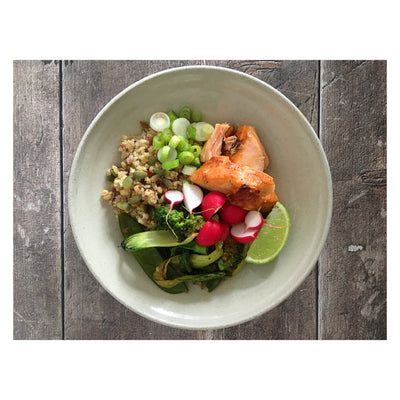 Honey, Ginger & Sesame Baked Salmon with Peanut-Dressed Pak Choi, Broccoli & Grains