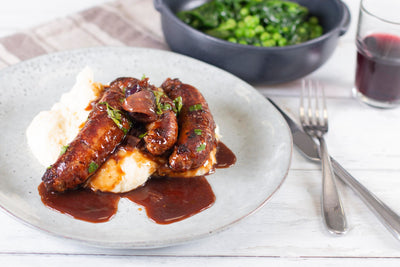 Sausages, Creamy Mashed Potato with Red Wine & Onion Sauce