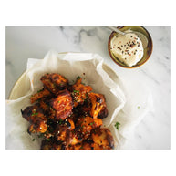 Spicy Korean Cauliflower Wings, Miso Mayo Dip