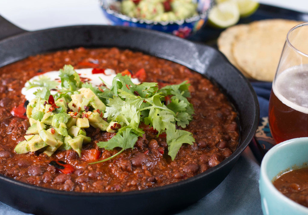 Chilli Con Carne with Green Rice, Guacamole and Sour Cream
