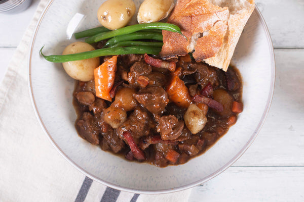 Frozen cook food beef bourguignon