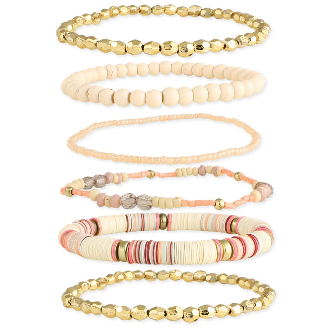 Creamsicle gold set of 6 bracelets