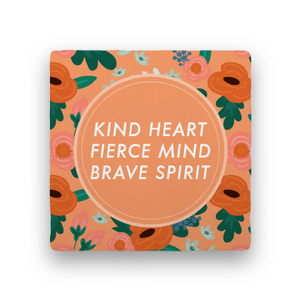 Kind fierce brave floral coaster