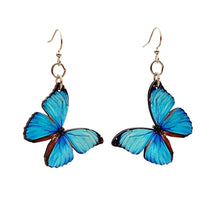 Load image into Gallery viewer, Blue butterfly earrings
