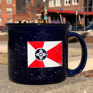 Blue ceramic Wichita flag mug