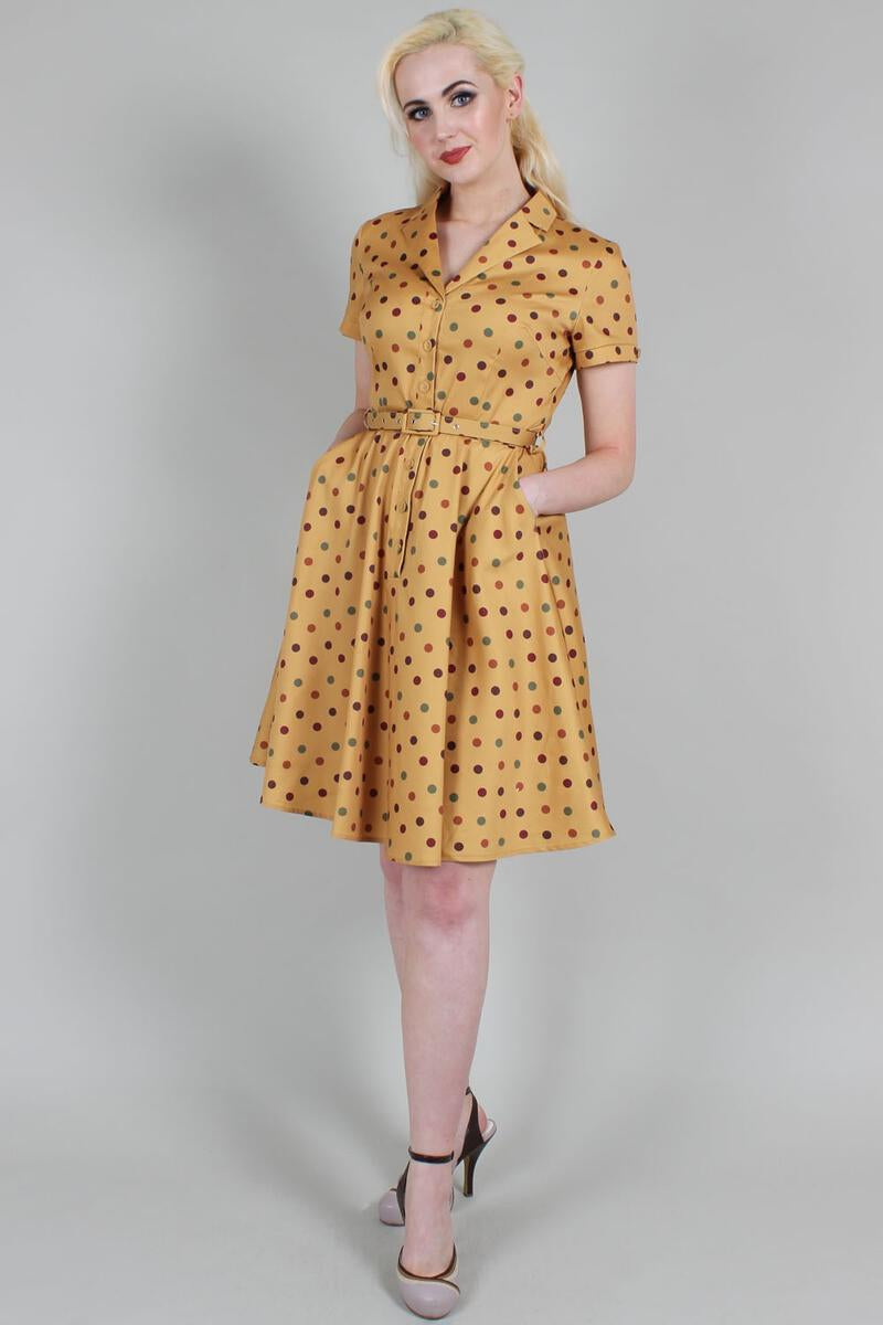 Mustard Diana Dot Dress