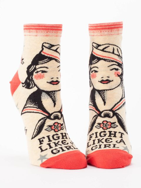 Fight like a girl women's ankle socks