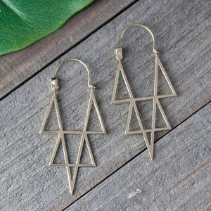Brass Star Points Earrings