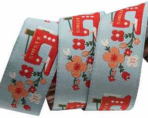 Red Sewing Machine Trim 22mm - Aqua - 50cm