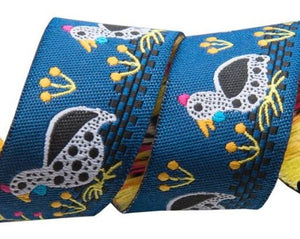 Guinea Fowl Trim 22mm - Blue - 50cm