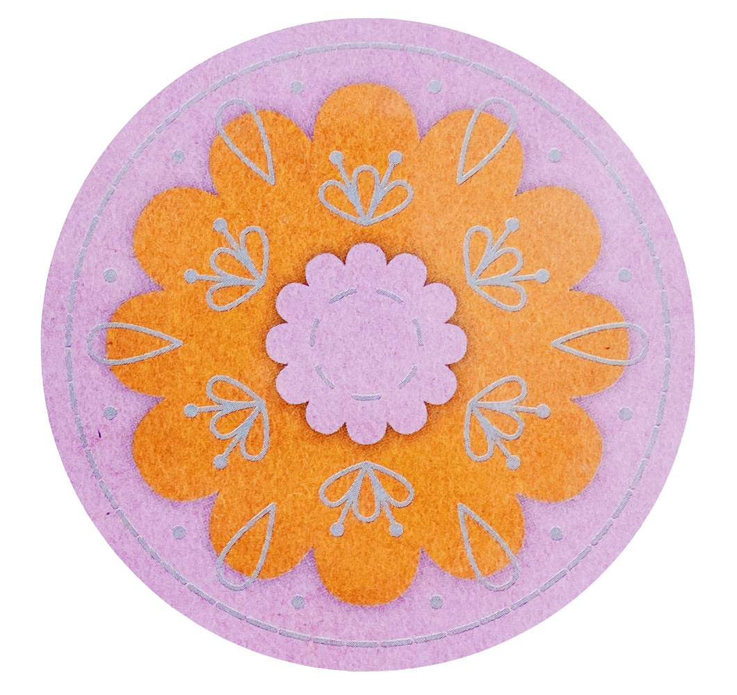Pink Floral Felt Embroidery Brooch Kit