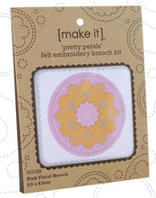 Load image into Gallery viewer, Pink Floral Felt Embroidery Brooch Kit