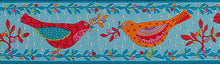 Load image into Gallery viewer, Red & Orange Birds on Blue Trim 38mm - 50cm