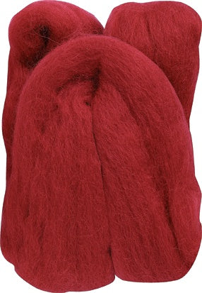 Natural Wool Roving - Red