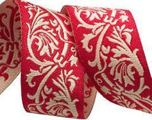 Load image into Gallery viewer, Red Brocade Trim 22mm - 50cm