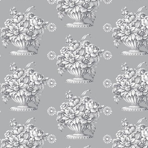 Stone Flower - Grey - Cotton Sateen Chintz - Wideback - 50cm