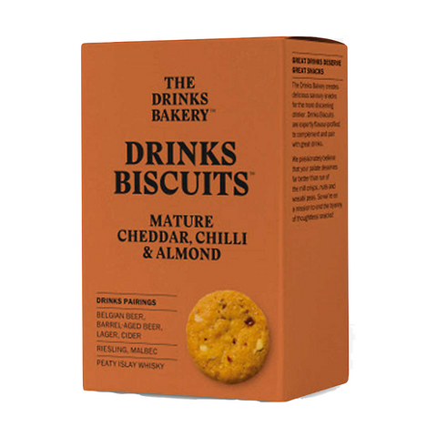 Drinks Bakery Mature Cheddar, Chilli & Almond Biscuits 36g