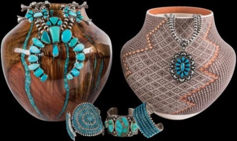 Wood Turned Pot and Acoma Pot with Indian Jewelry in  Santa Fe