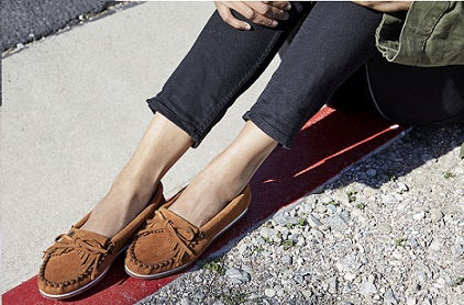Model wearing leather Moccasins