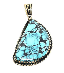 14K Gold Spider Web Turquoise Pendant