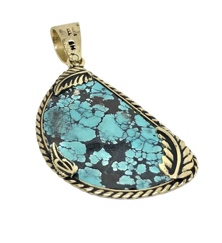 Image of 14K Gold Spider Web Turquoise Pendant
